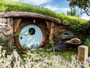 baby blue door of hobbit hole