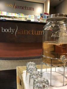 body sanctum spa reception and complimentary water