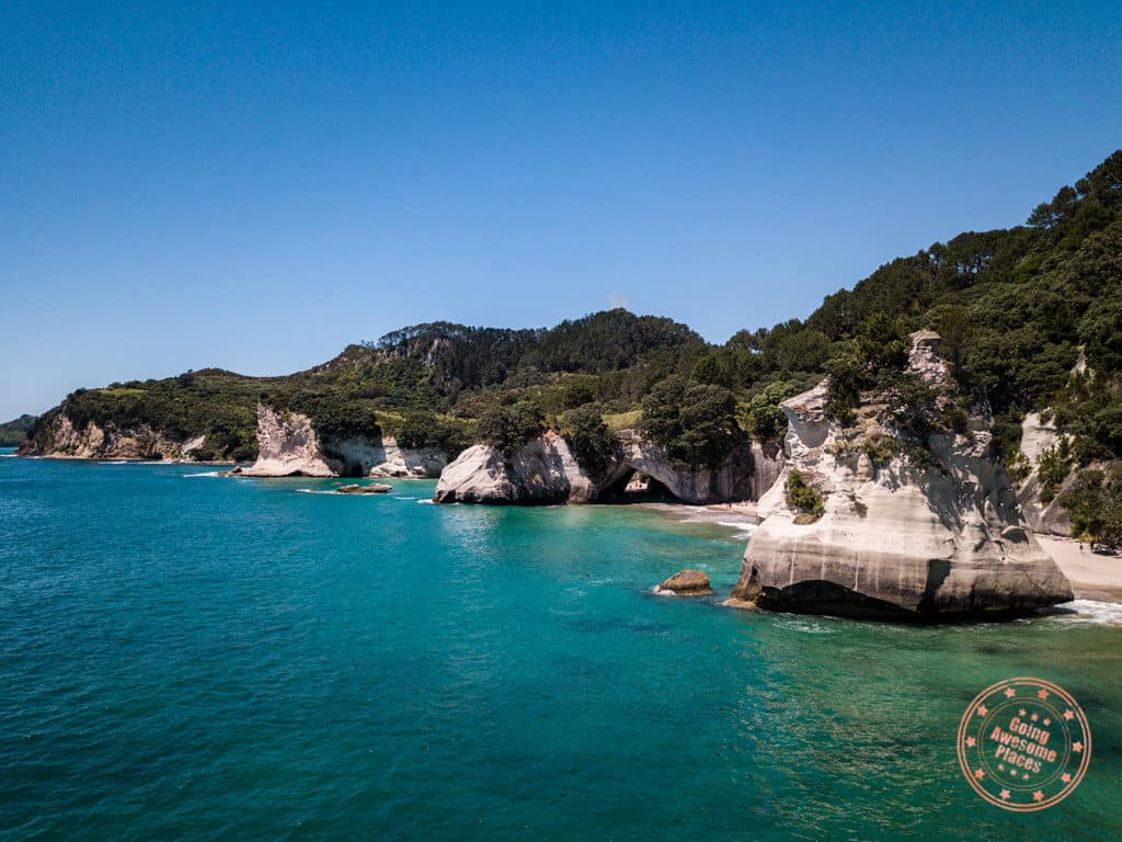 catherdal cove aerial new zealand guide