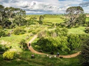 new zealand hobbiton film set wide angle shot of grounds