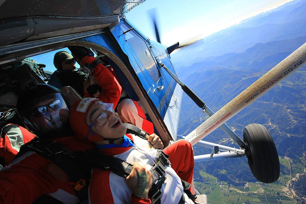 getting ready to jump out of the plane with skydive abel tasman in nz