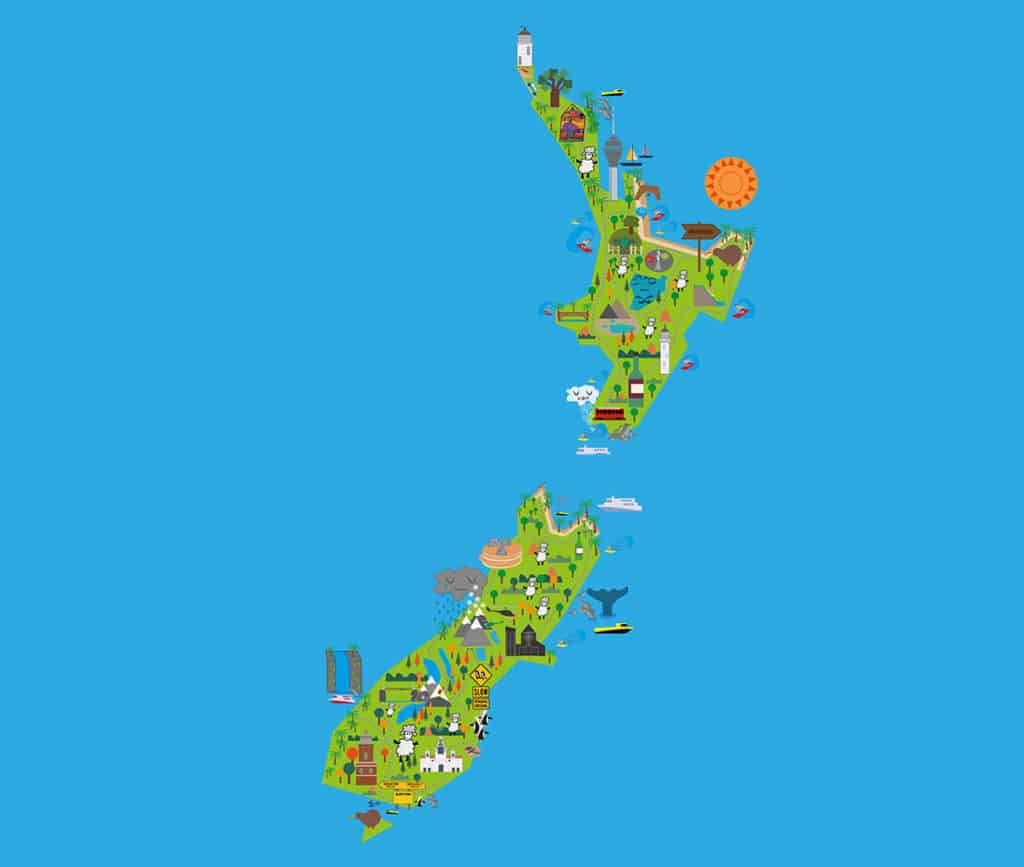illustrated north and south island of new zealand map as part of 3 week itinerary