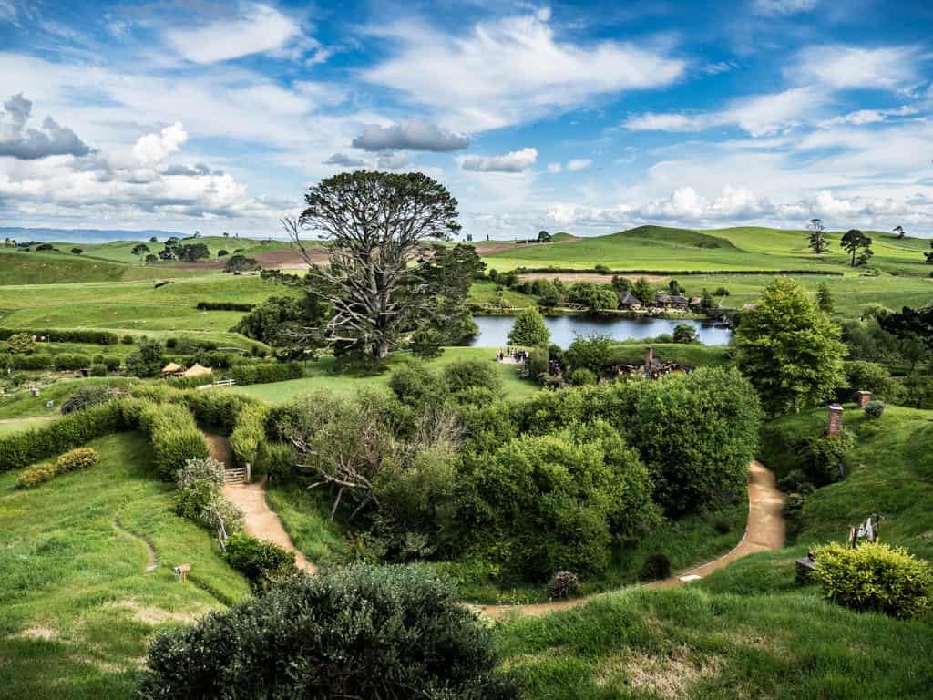 panoramic view on visit hobbiton in new zealand movie set tour