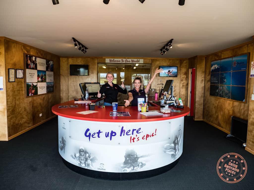 skydive abel tasman reception staff and sign in desk