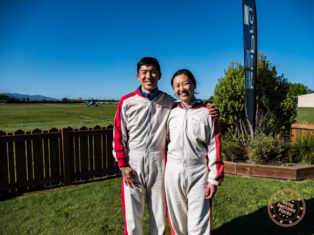 suited up in our windsuit with skydive abel tasman