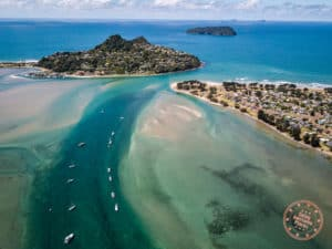 tairua perfect pitstop aerial of the water and boats