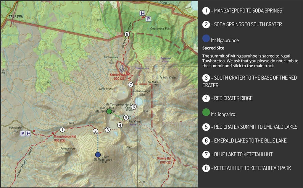 tongariro crossing topography map with main highlights new zealand itinerary