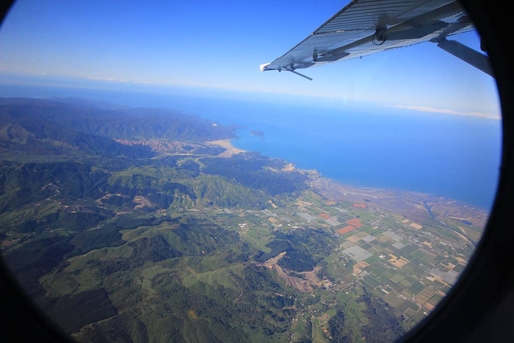 view from the plane in anticipation of skydiving abel tasman