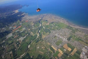 views of abel tasman below skydiving nz