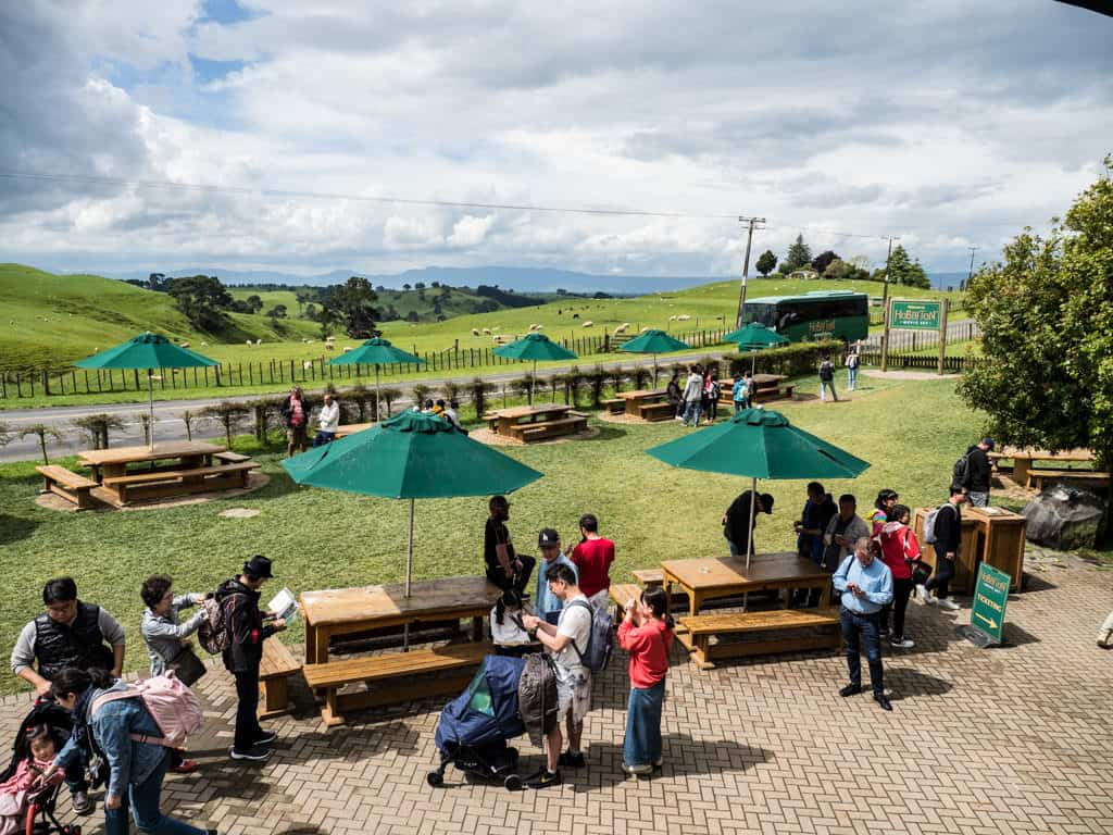 waiting area for hobbiton film set tours in new zealand