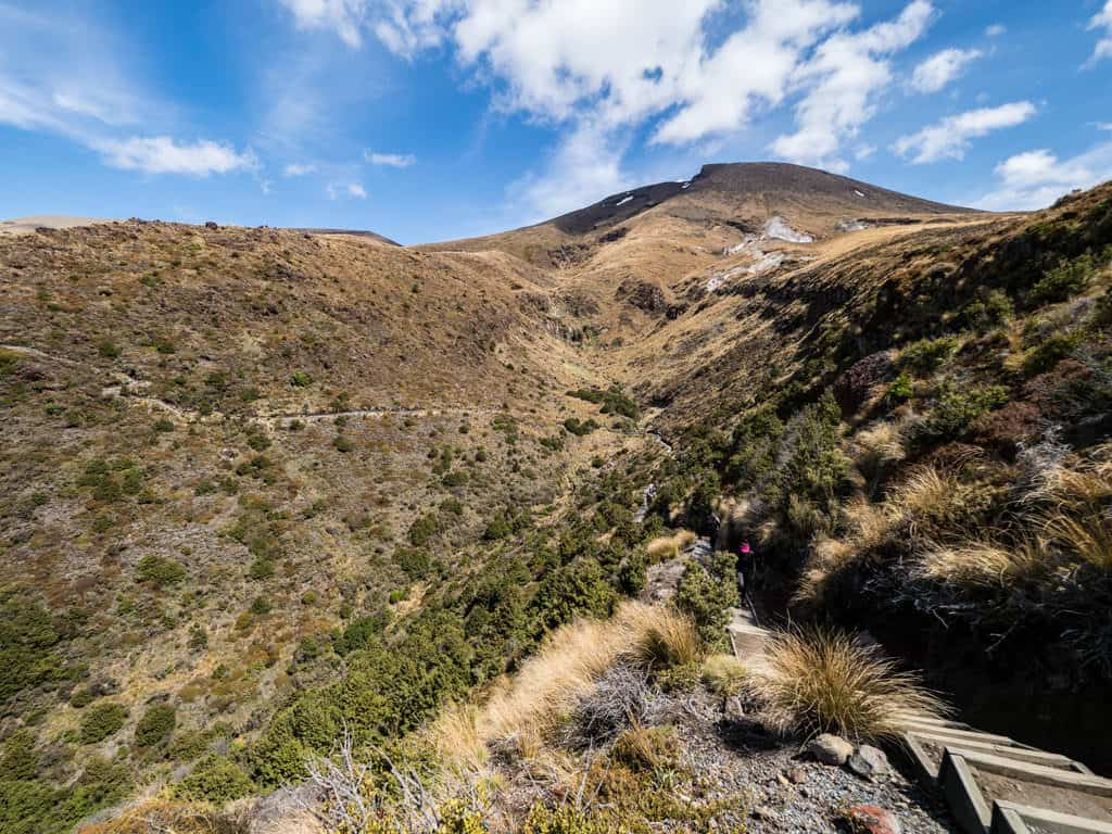 final section tongariro alpine crossing looking back up at the mountain