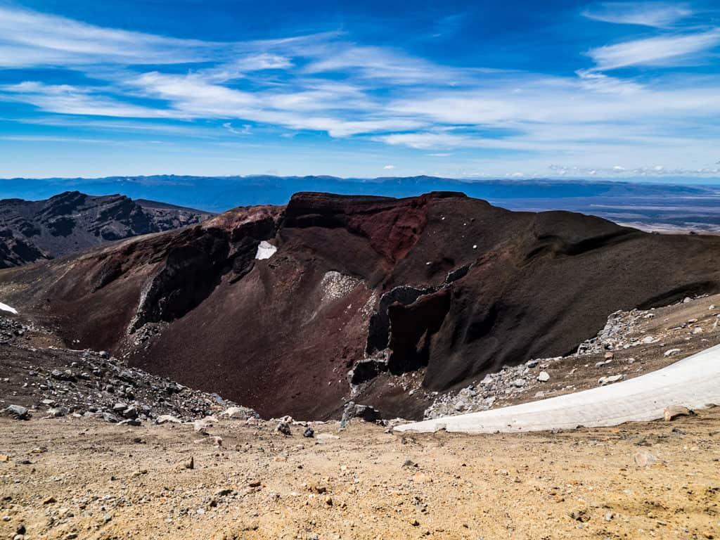 red crater view tongariro crossing hike