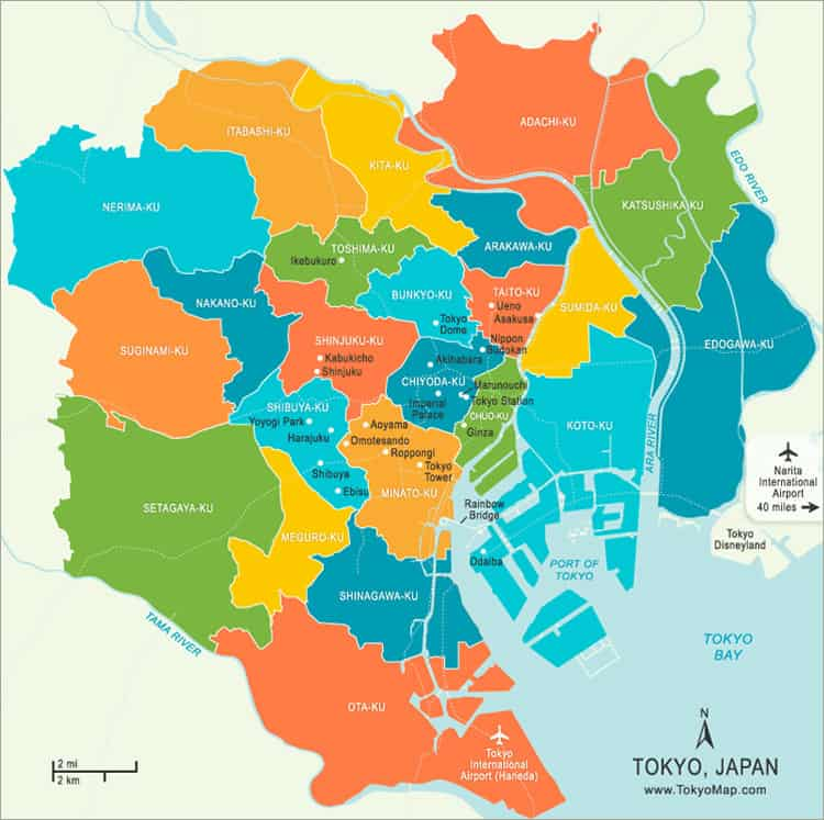 tokyo neighborhood guide map - where to stay in the city
