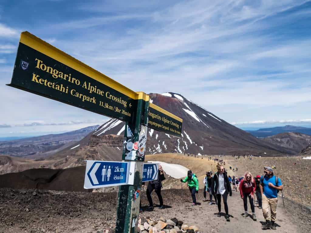 tongariro alpine crossing hiking guide new zealand signpost