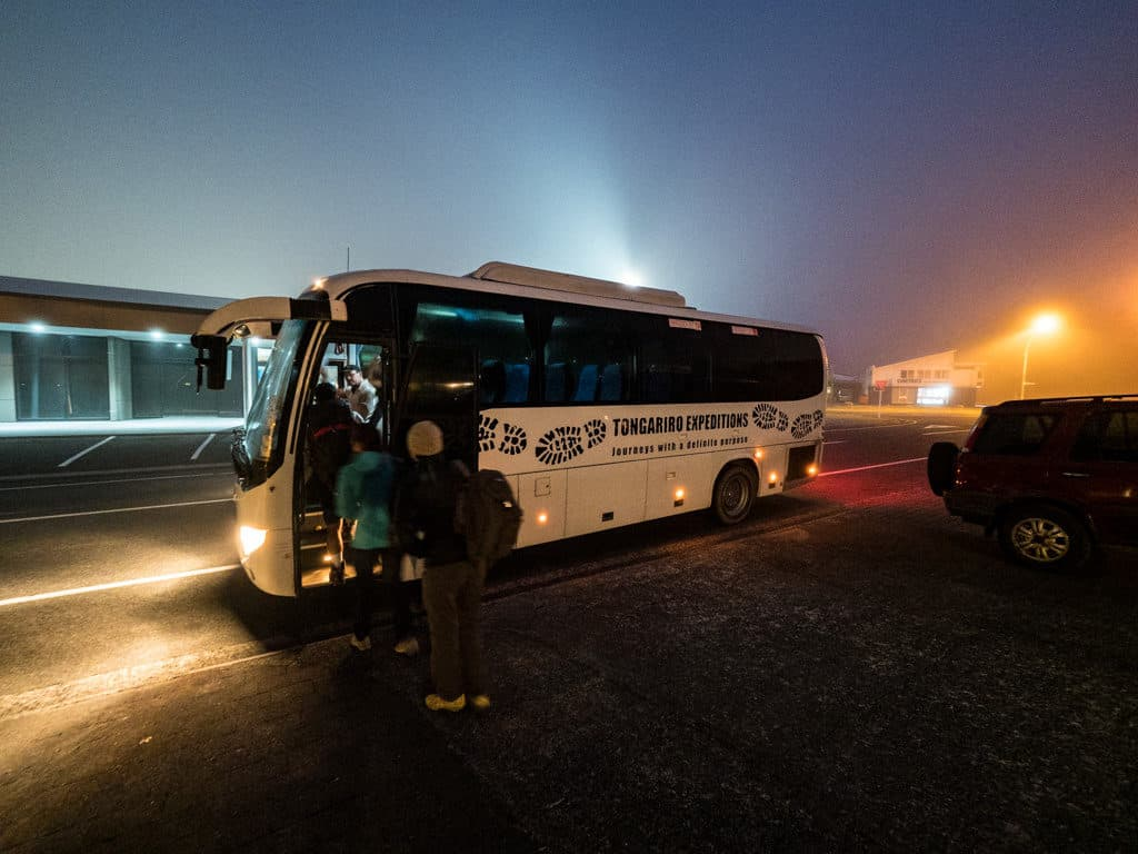 tongariro expeditions early pick up shuttle service