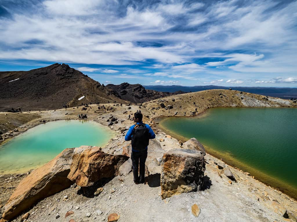 walking between emerald lakes tongariro track section 6