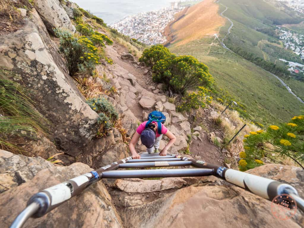 climbing ladder of lions head cape town south africa