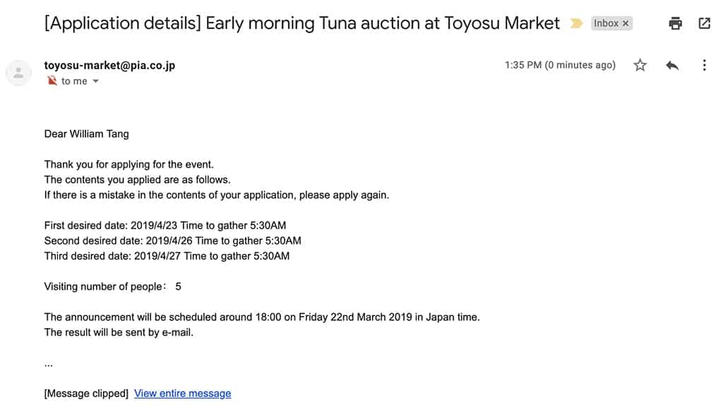 toyosu market email confirmation for tuna auction lottery