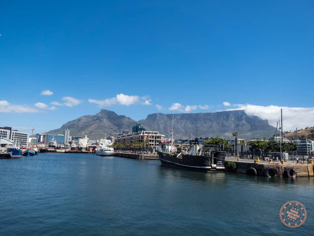 table mountain from va waterfront in cape town