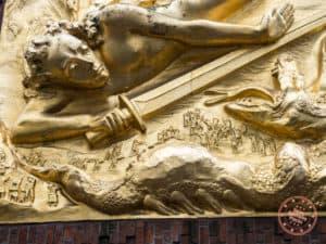 bremen lightbringing relief closeup on bottcherstrasse