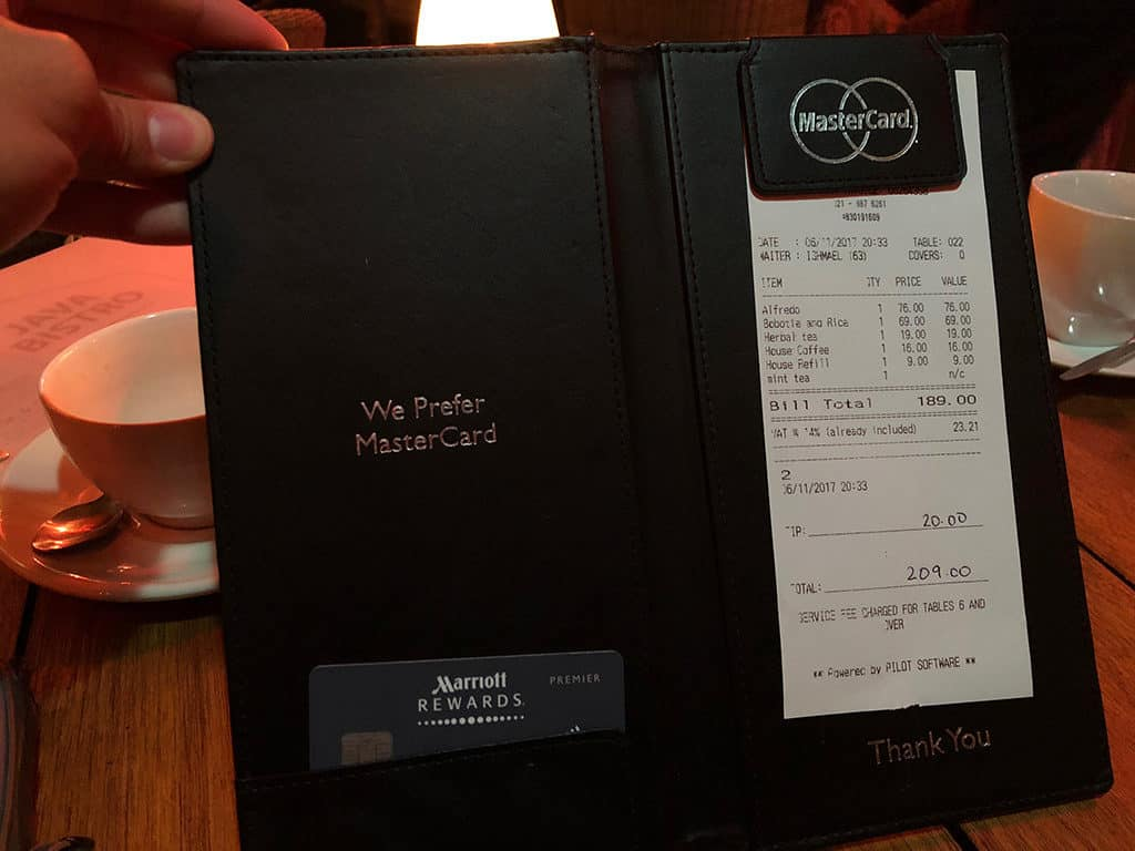 example restaurant bill with tips in south africa