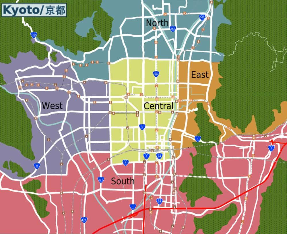 kyoto city map neighbourhood guide