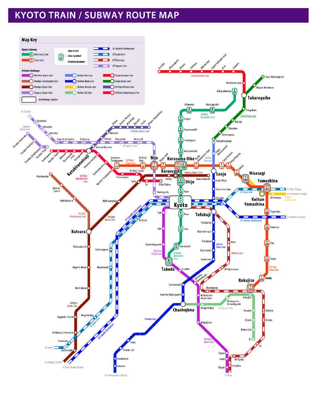kyoto japan how to get around train and subway transit map