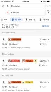 google maps directions to kichijoji from tokyo with jr train