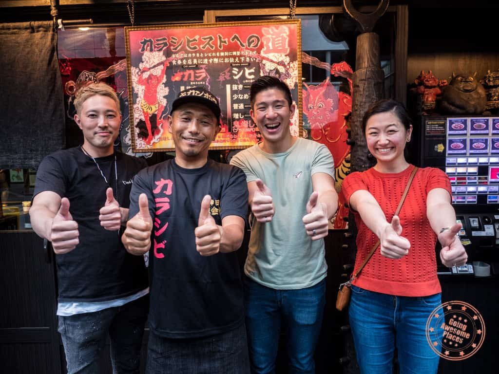 group photo with kikanbo ramen master chef miura