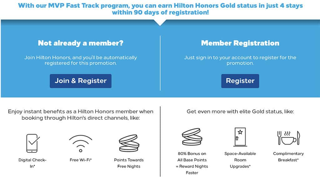 hilton honors gold fast track submission page