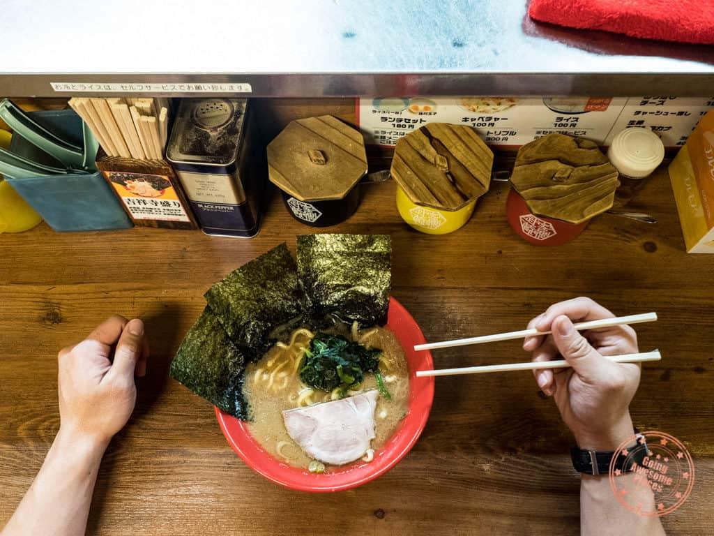 musashiya kichijoji ramen restaurant overhead shot