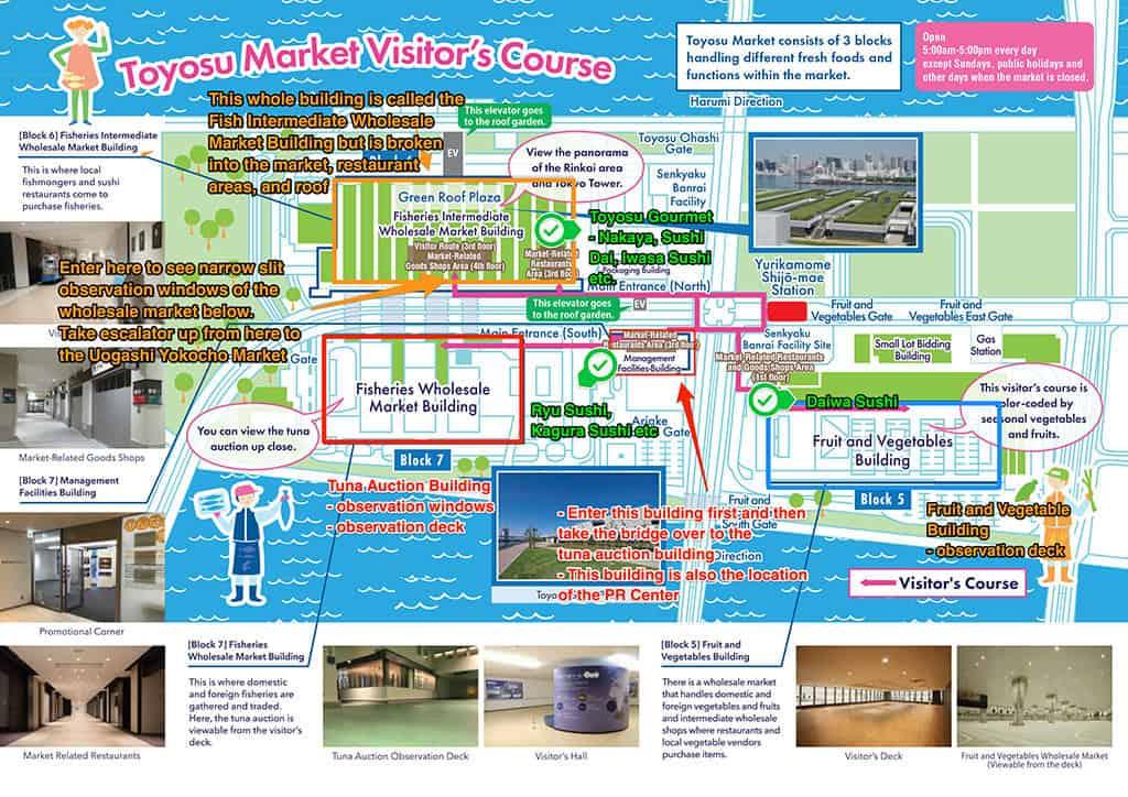 toyosu fish market map tokyo labelled in english