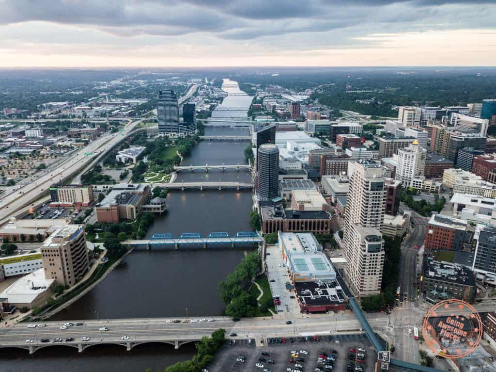 grand rapids downtown aerial city photo