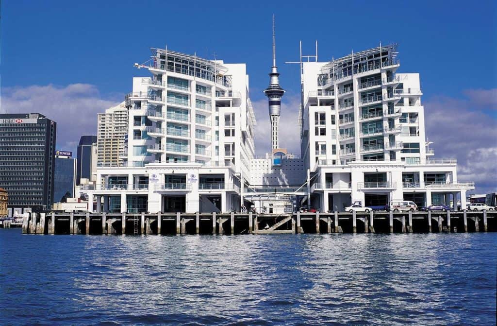hilton auckland hotel pier exterior from water