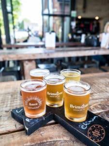 brimstone brewing flight of beers