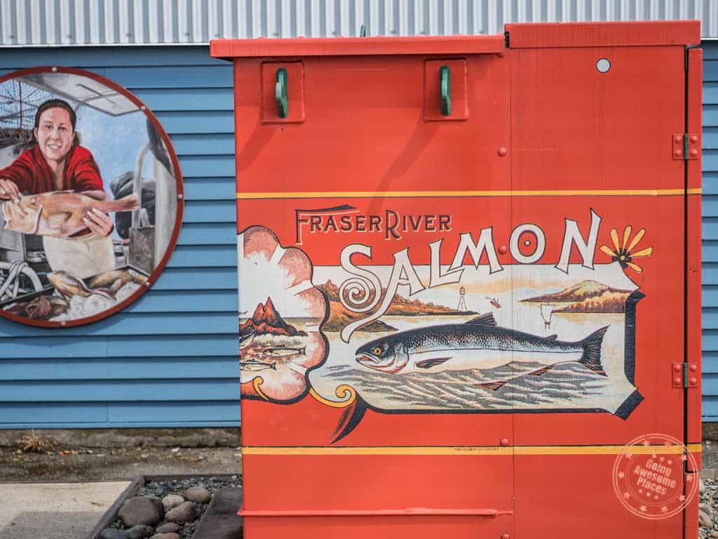 fraser river salmon sign in steveston richmond