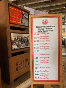 tour schedule for gulf of georgia cannery