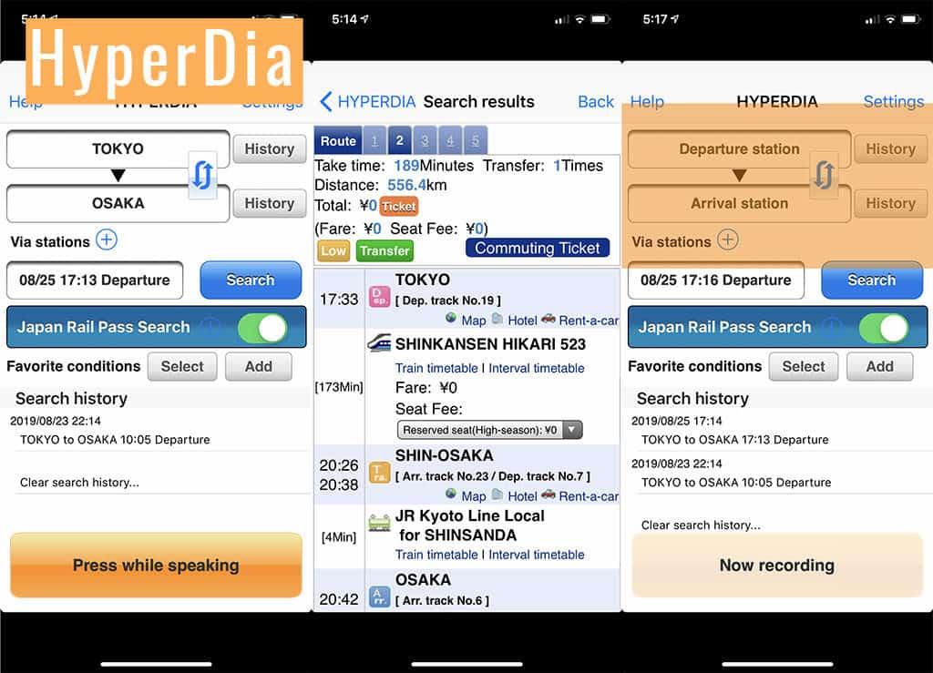 hyperdia japan train schedule travel app