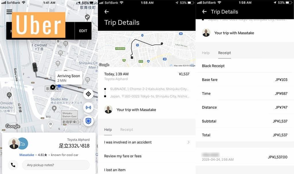 using uber in japan for travel