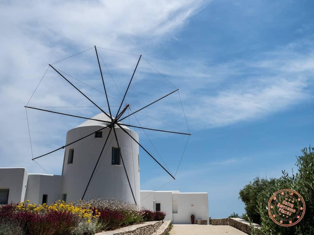 antiparos windmill in neighbourhood greece
