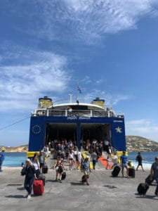 boarding a greek ferry from paros with golden star ferries