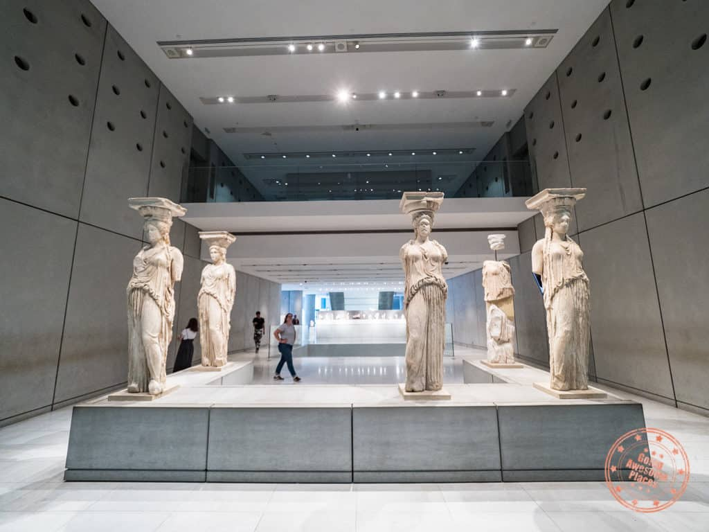 original caryatids of erechtheum in acropolis museum