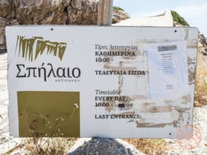 cave of antiparos hours and prices sign