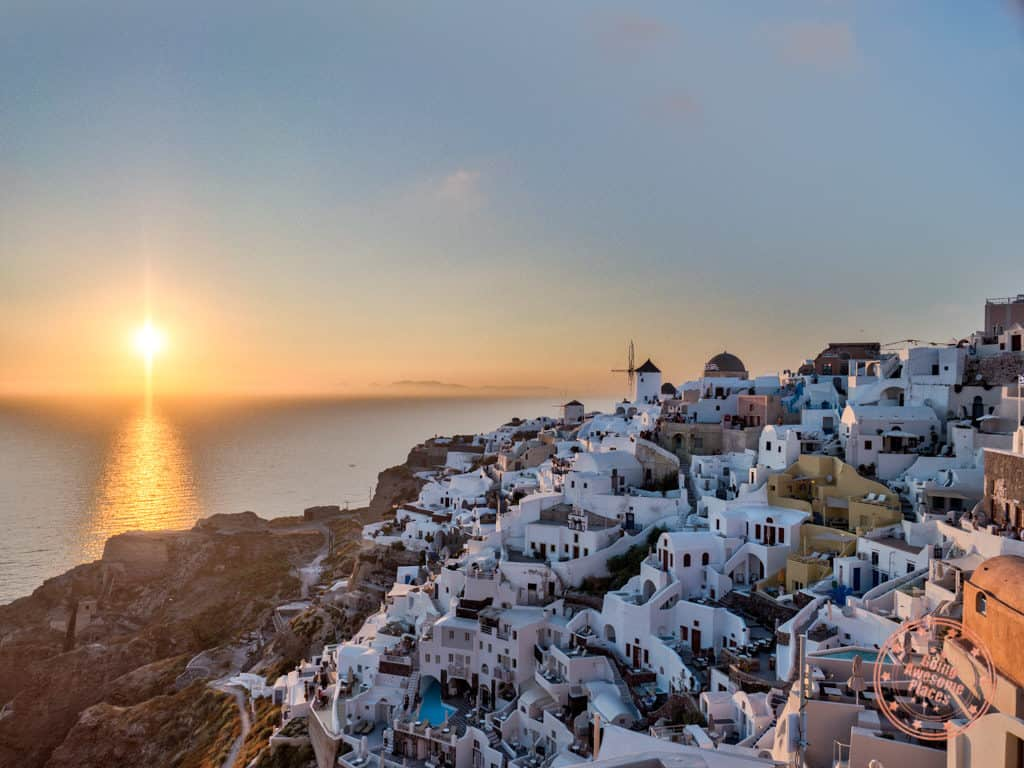 classic oia sunset in where to stay in santorini guide