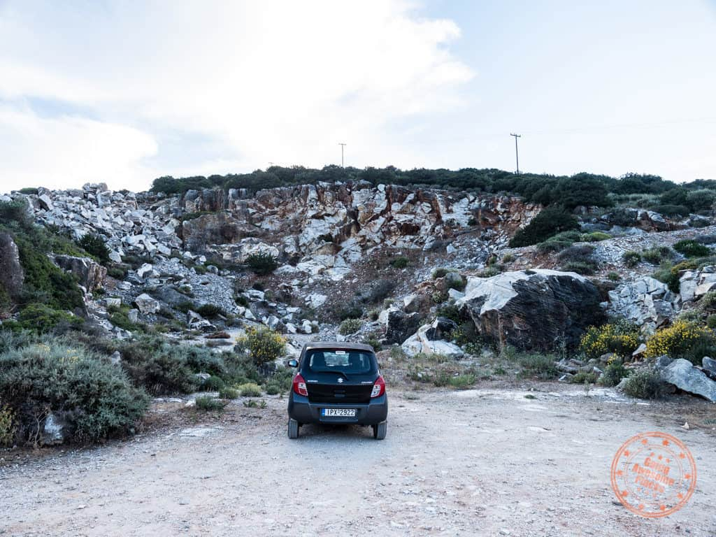 driving in paros marble quarry parking