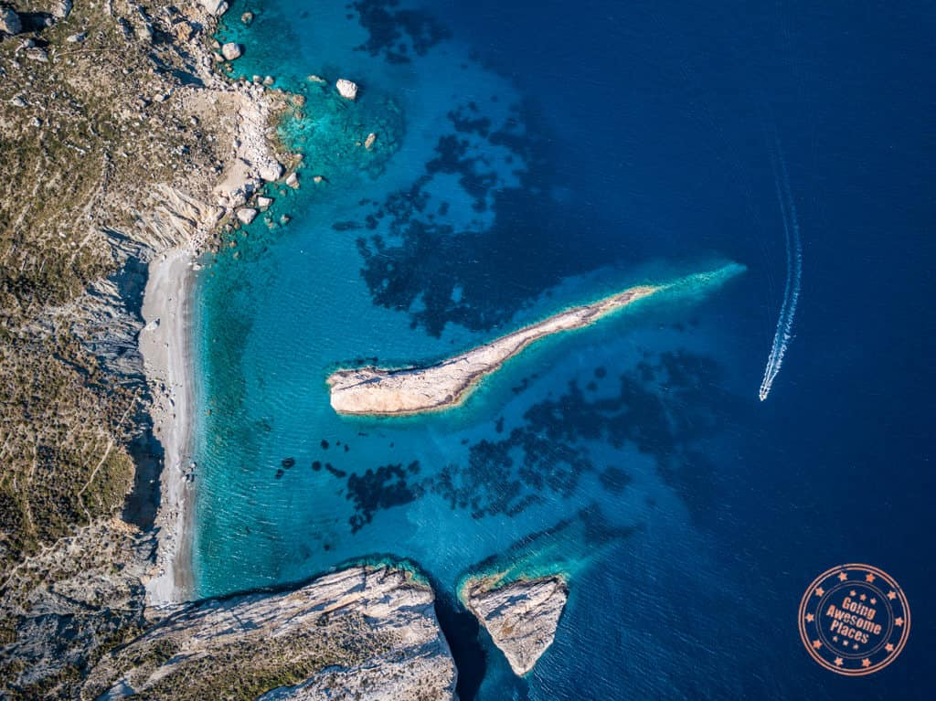 folegandros katergo beach drone shot from above