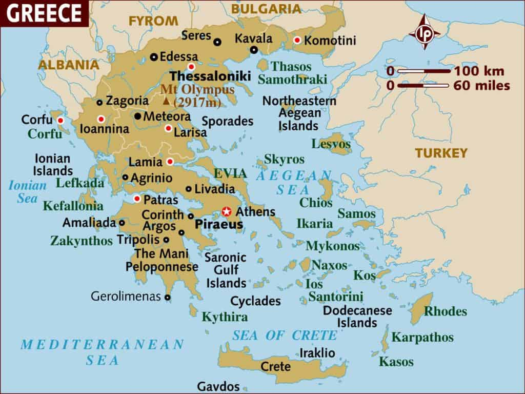 map of greece geography in greek islands travel guide