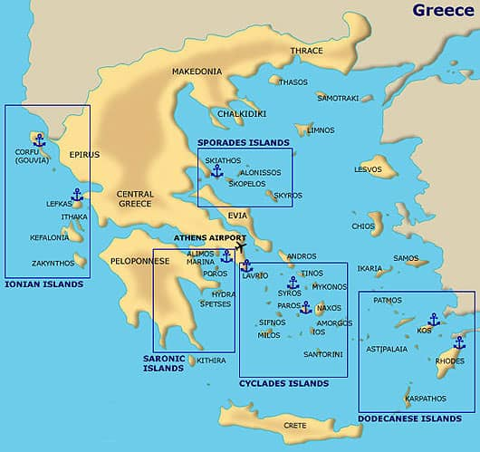 greek island cluster sections map