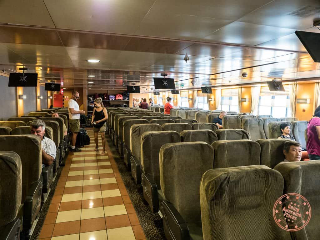 interior blue star ferry seating