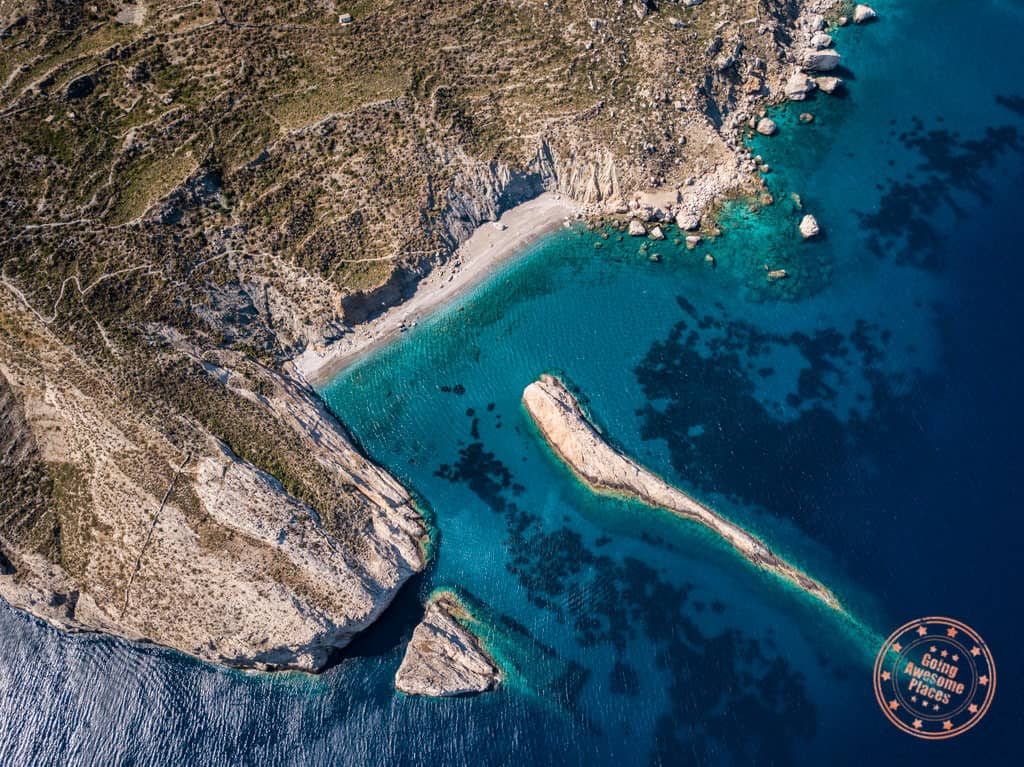 katergo beach aerial in folegandros things to do itinerary